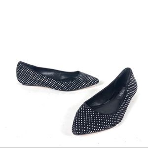 WHBM studded pointy toe flats black shiny work